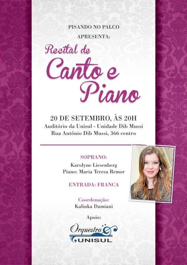 Projeto Pisando no Palco apresenta Recital de Canto e Piano