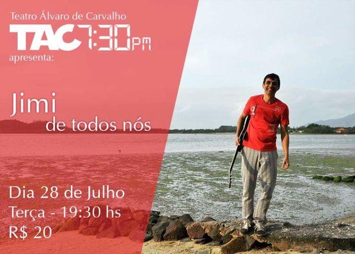 """Jimi apresenta o show autoral """"De Todos Nós"""" no TAC 7:30"""