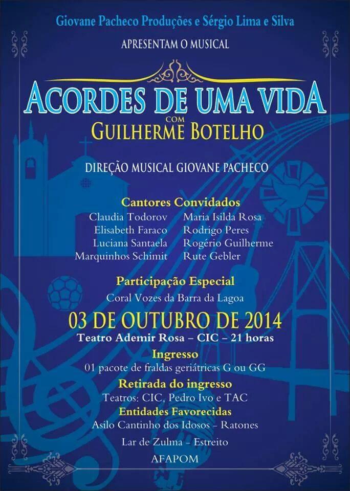 """Show musical """"Acordes de uma Vida"""", com Guilherme Botelho"""