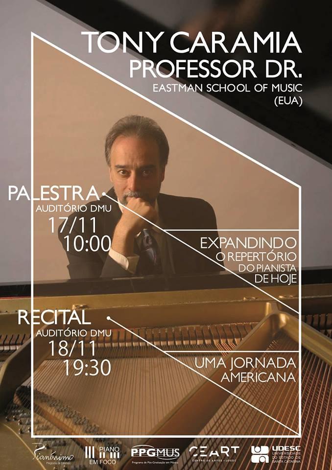 Palestra e recital com pianista Tony Caramia