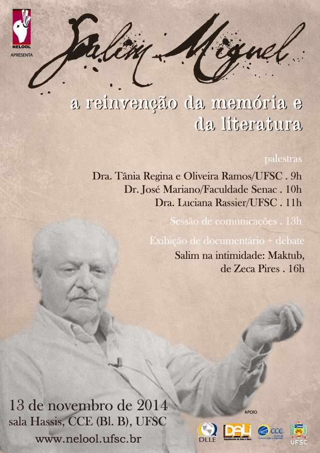 Simpósio em homenagem ao escritor Salim Miguel
