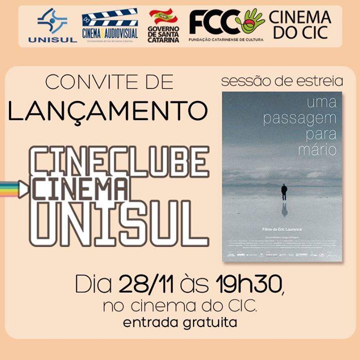 """Reabertura do Cinema do CIC com """"Uma Passagem para Mário"""", de Eric Laurence"""