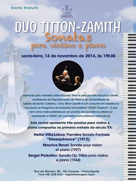 """Recital """"Duo Titton-Zamith: Sonatas para violino e piano"""""""