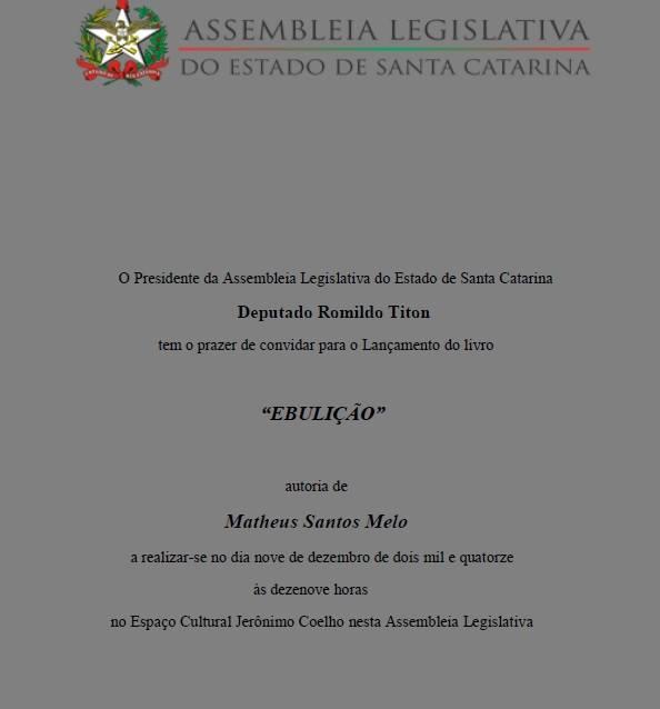 """Lançamento do livro """"Ebulição"""" de Matheus Santos Melo"""