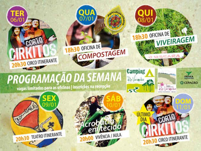 Programação da semana do Camping do Rio Vermelho