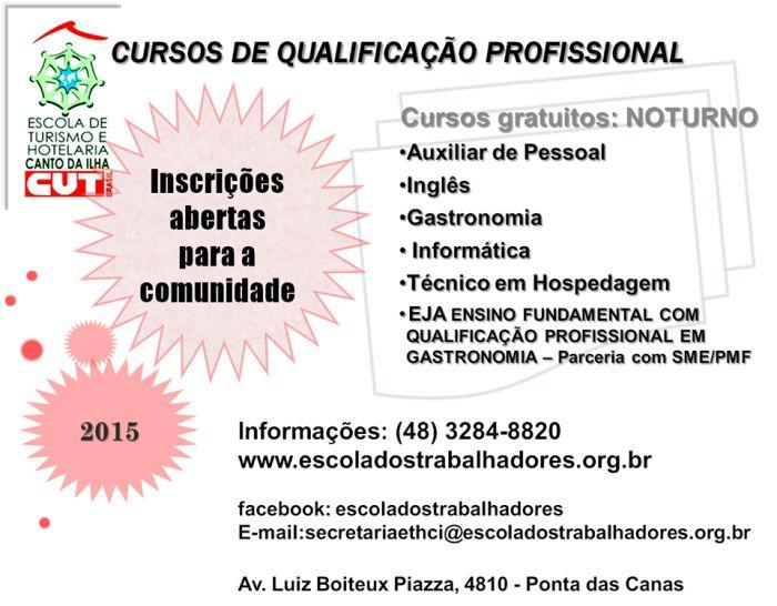 Cursos gratuitos de qualificação profissional - Incrições 2015/1