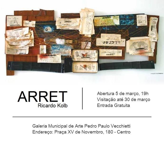 Exposição ARRET, de Ricardo Kolb e oficina gratuita com o artista