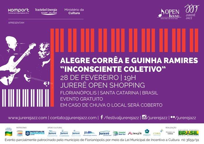 Show gratuito com Alegre Correa e Guinha Ramires - Jurerê Jazz