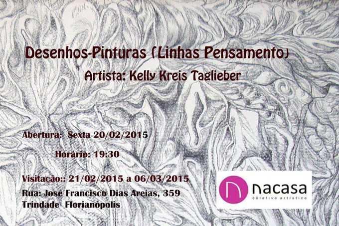 """Exposição """"Desenho-Pintura (Linhas-Pensamentos)"""", de Kelly Kreis Taglieber"""