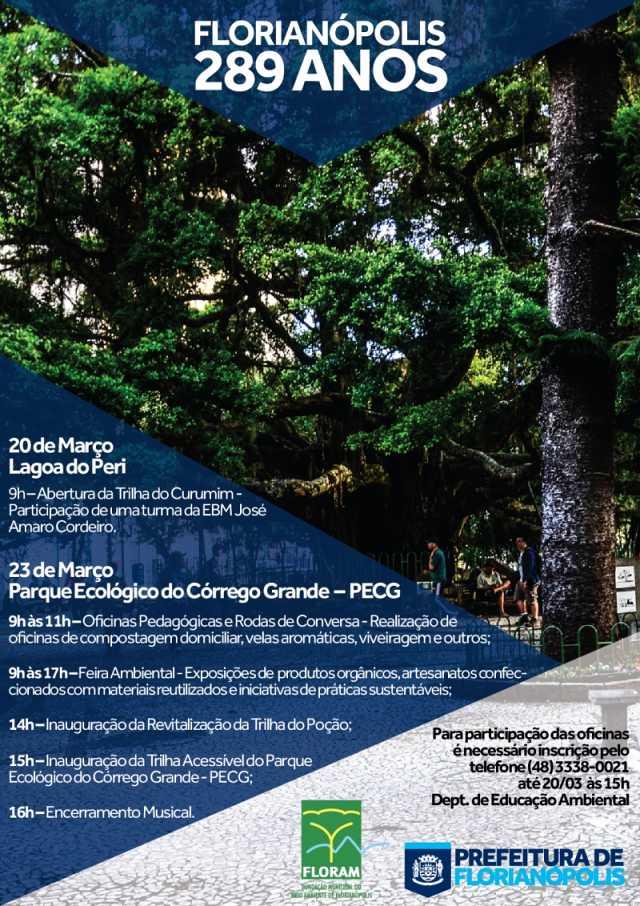 Atrações ecológicas em comemoração do aniversário de Florianópolis