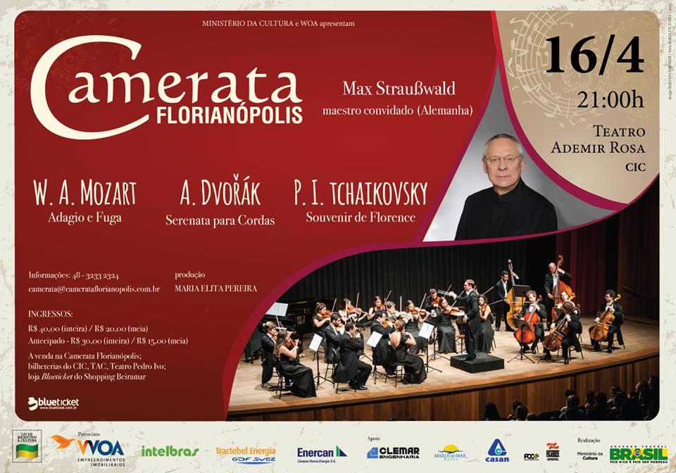 Camerata Florianópolis interpreta Tchaikovsky, Dvorak e Mozart