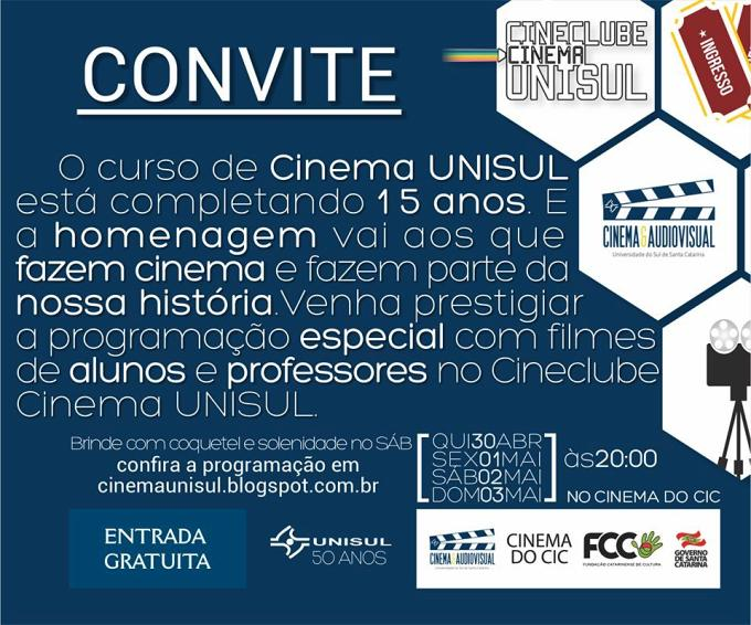 Sessões especiais comemoram os 15 anos do curso de Cinema UNISUL