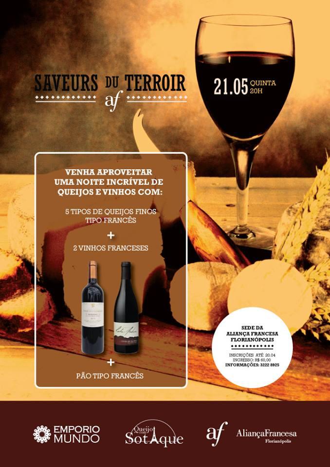 Noite de Queijos e Vinhos franceses - Saveurs du Terroirs