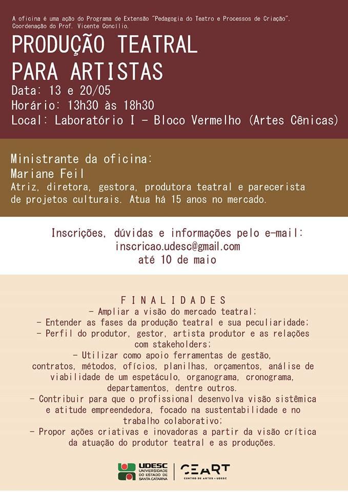 Oficina gratuita de produção cultural para artistas - Inscrições abertas