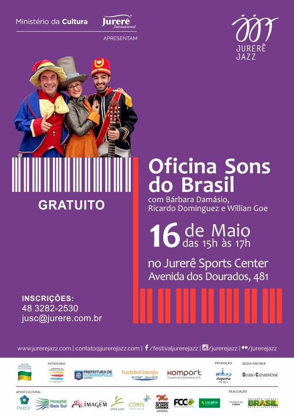 "Oficina infantil gratuita sobre ritmos brasileiros ""Sons do Brasil"" - Jurerê Jazz Festival"