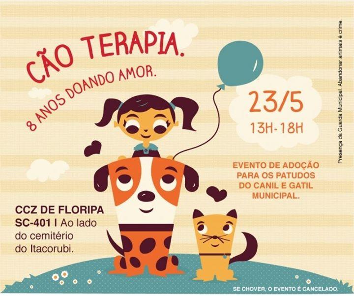 Grande feira de adoção de animais em comemoração aos oito anos da Cão Terapia