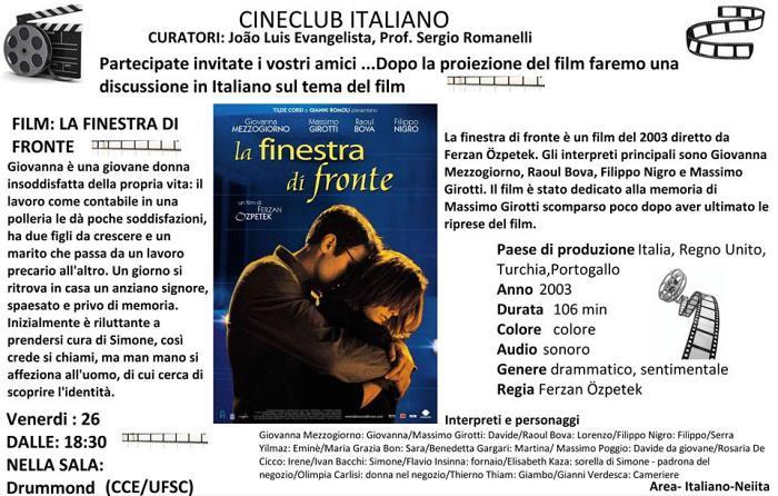 """Cineclub Italiano exibe """"La finestra di fronte"""" (A janela em frente, 2003)"""