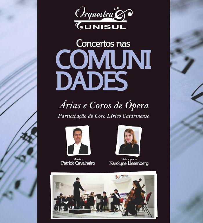 """Concerto gratuito da Orquestra Unisul """"Árias e Coros de Óperas"""""""