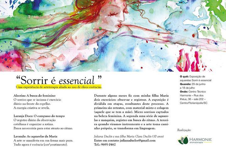 """Exposição de aquarelas """"Sorrir é essencial"""" da artista plástica Juliana Duclós"""