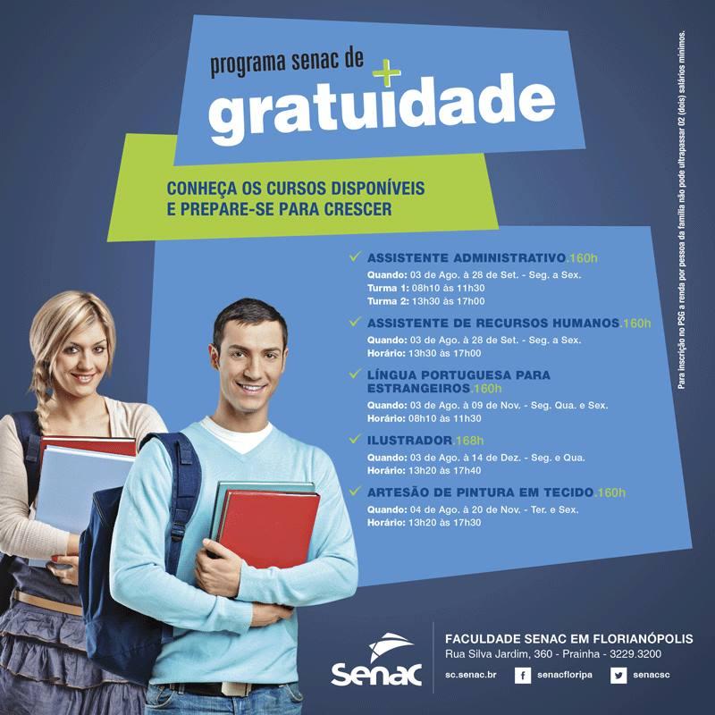 Inscrições abertas para cursos profissionalizantes gratuitos Senac