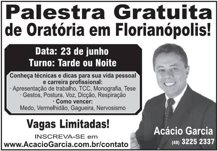 Palestra gratuita de Oratória, com Acácio Garcia