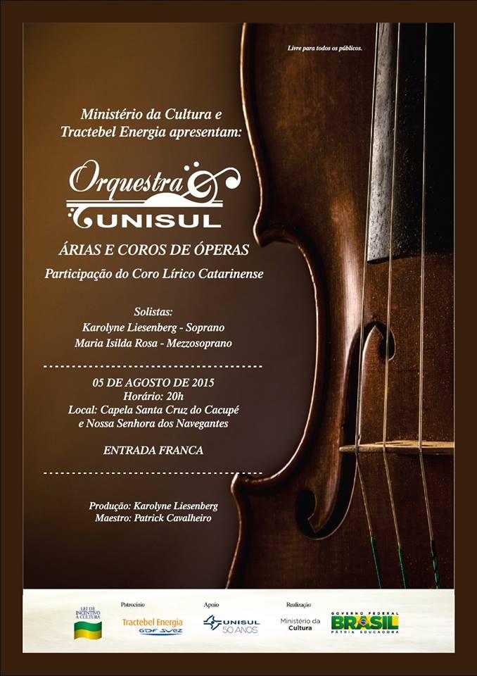 """Orquestra Unisul apresenta concerto """"Árias e Coros de Óperas"""""""