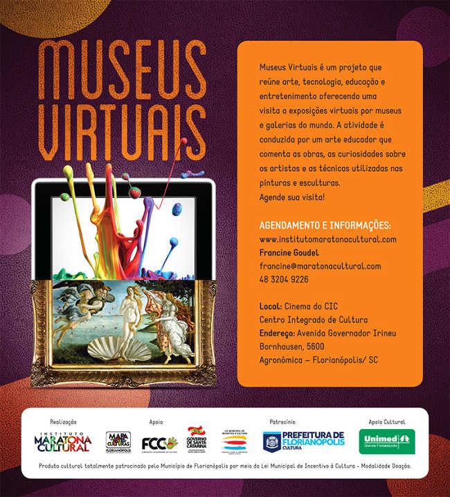 Agenda das sessões gratuitas do projeto Museus Virtuais 2015