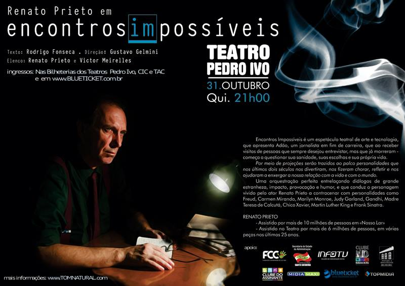 """Espetáculo teatral """"Encontros (Im)Possíveis"""" no Teatro Pedro Ivo"""
