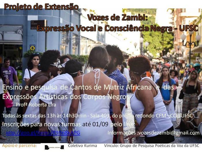 """Inscrições para aulas gratuitas de canto e práticas corporais do """"Vozes de Zambi"""""""