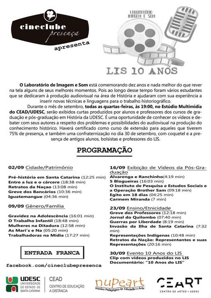 Cineclube Presença exibe Mostra LIS 10 anos