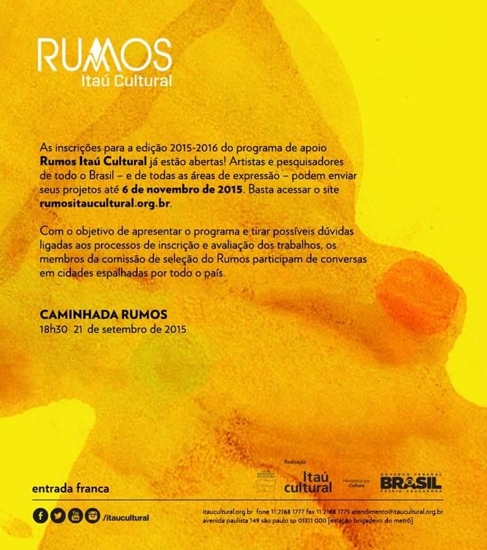 Caminhada Rumos do Itaú Cultural 2015-2016 - inscrições abertas