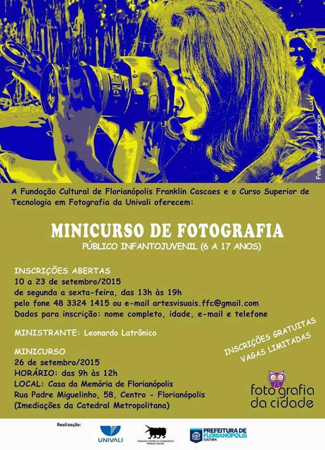 Inscrições gratuitas para Minicurso de Fotografia