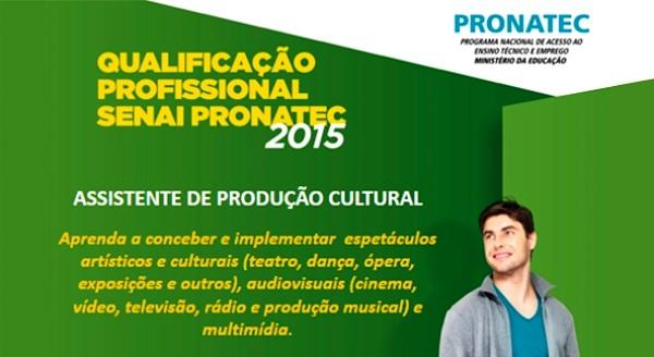 Inscrições para curso gratuito de Assistente de Produção Cultural pelo Pronatec