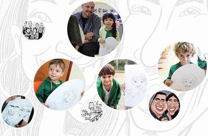 Caricaturas de graça, pintura facial, brinquedos e mais atividades para crianças