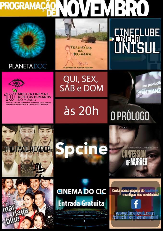 Cinema do CIC - Programação do mês de novembro