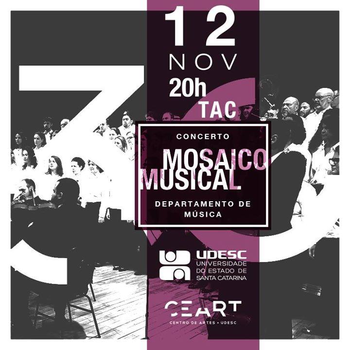 """Concerto gratuito """"Mosaico Musical"""" na semana comemorativa de 30 anos da Udesc Ceart"""