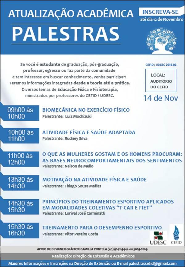 Palestras gratuitas de atualização acadêmica em Educação Física e Fisioterapia