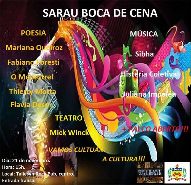 Sarau Boca de Cena reúne poetas, atores e músicos
