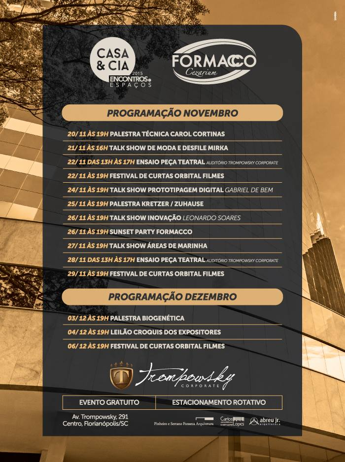 Agenda de eventos gratuitos da mostra Casa & Cia do Trompowsky Corporate