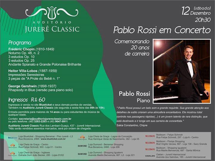 Concerto de Pablo Rossi - Comemorando 20 anos de carreira - CANCELADO
