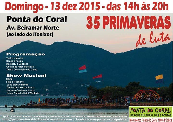 Evento cultural gratuito na Ponta do Coral com música, teatro, dança, capoeira, poesia e oficina
