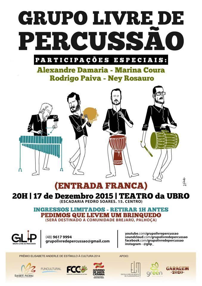 Show gratuito encerra projeto Concertos Didáticos do Grupo Livre de Percussão (GLiP)