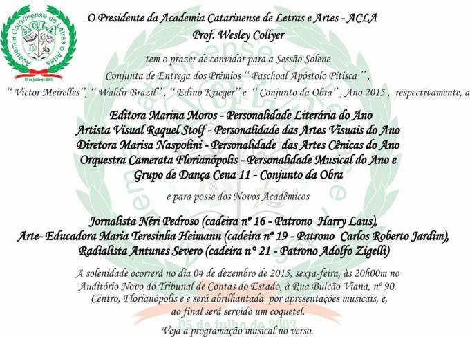 Solenidade da Academia Catarinense de Letras e Artes com premiação das personalidades do ano