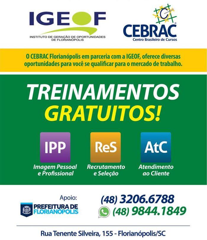 Cursos de treinamento gratuitos oferecidos pelo IGEOF e CEBRAC