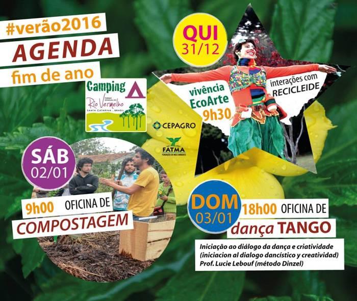 Programação cultural gratuita do Fim do ano no Camping Parque do Rio Vermelho