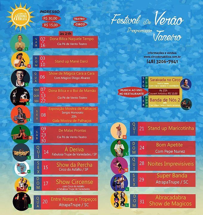 Festival de Verão 2016 no Circo da Dona Bilica - Programação