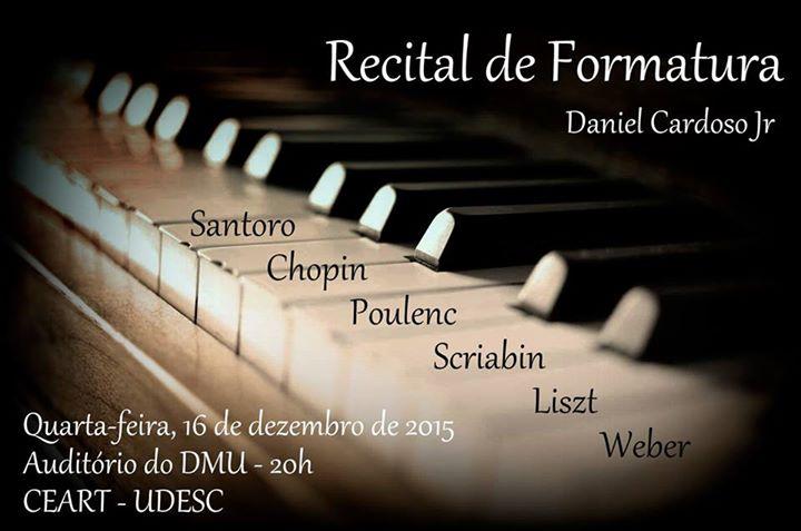 Recital de formatura de aluno de música da Udesc Daniel Cardoso Júnior