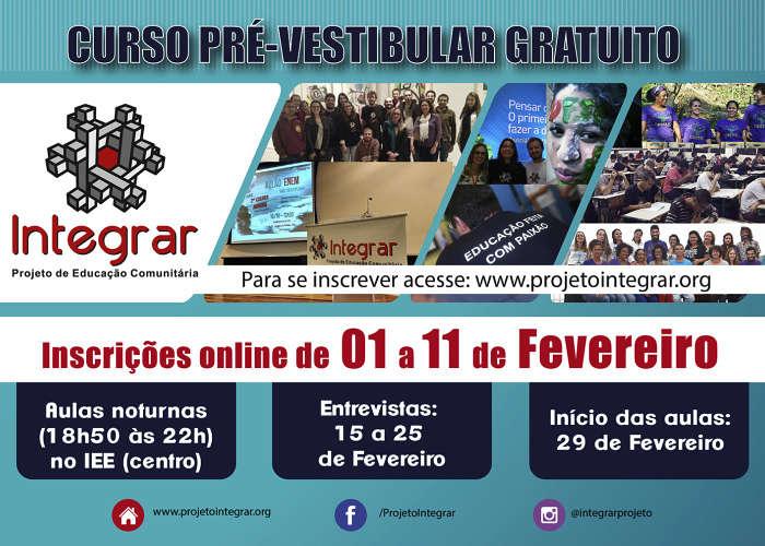 Inscrições para Pré-Vestibular Gratuito do Projeto Integrar