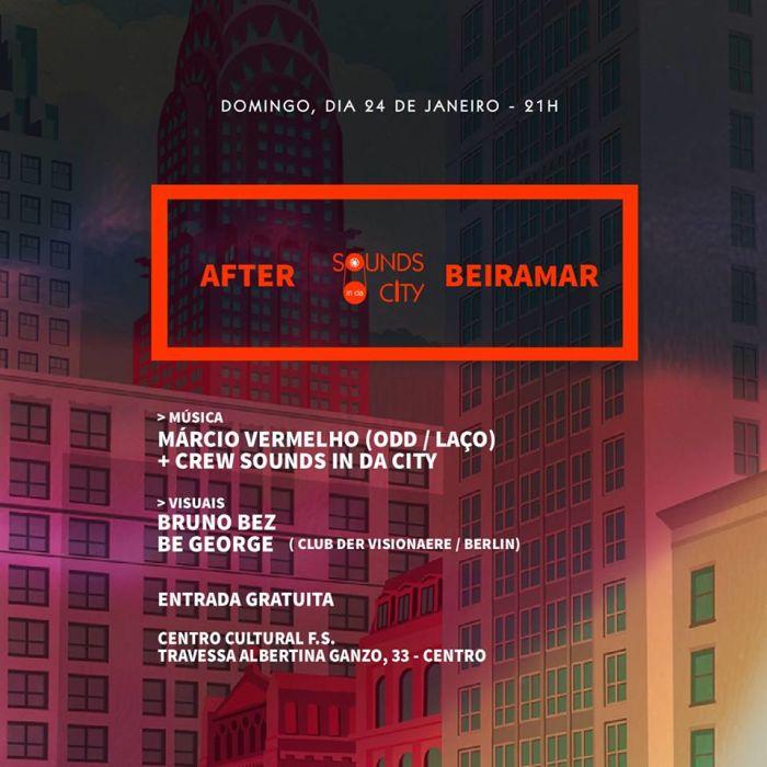 After Sounds in da City gratuito com Márcio Vermelho, Crew e projeções visuais