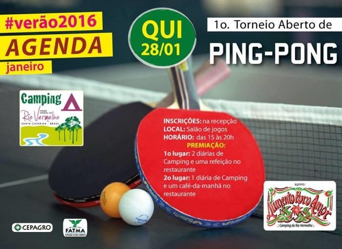 1º Torneio Aberto de Ping Pong no Camping Parque do Rio Vermelho